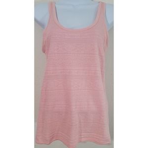 SO Peach Pink Textured Double Scoop Tank Top Large